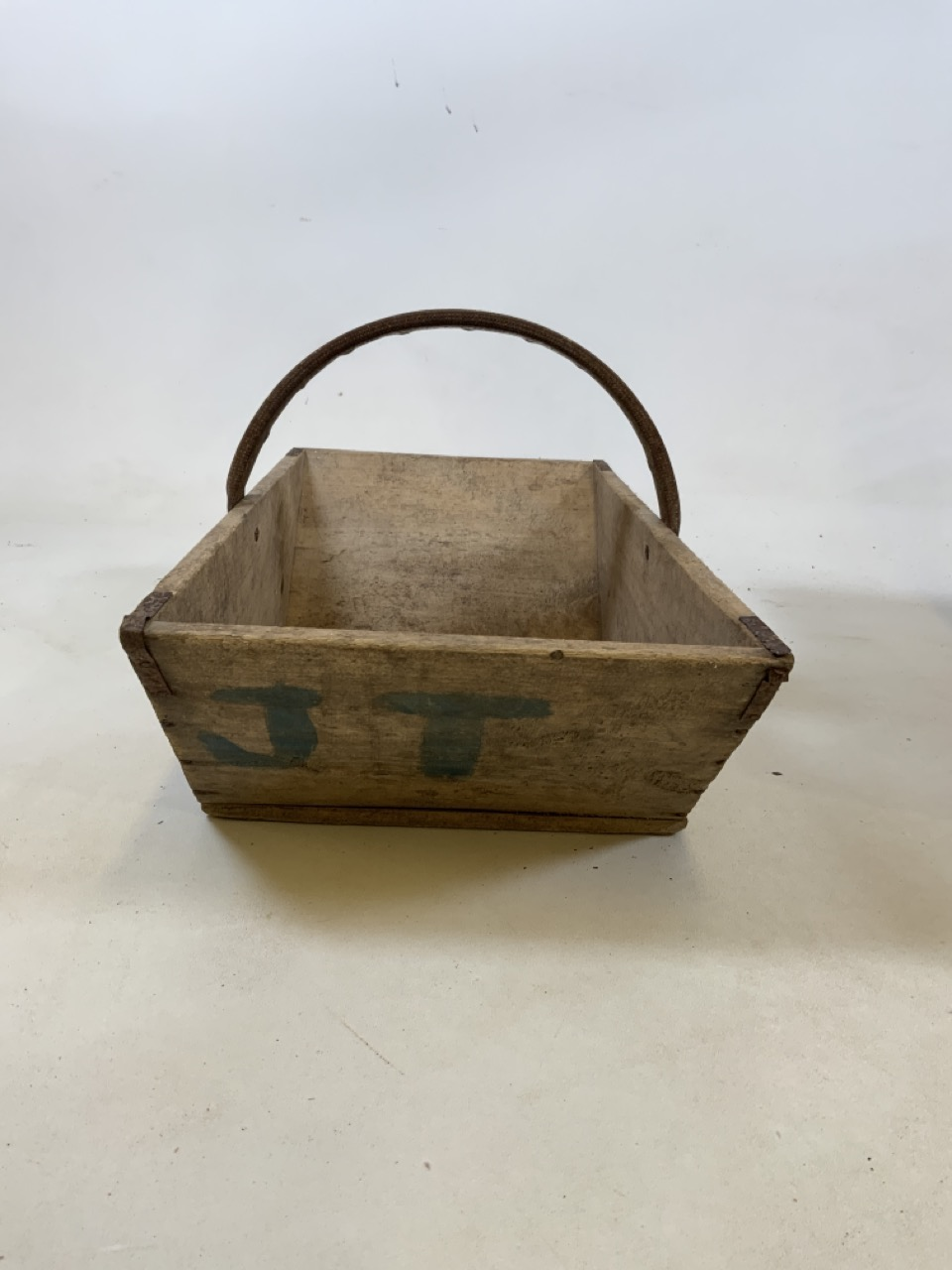 Two vintage French wooden flower trugs. One with bentwood handle and one with metal handle W:36cm - Image 3 of 5