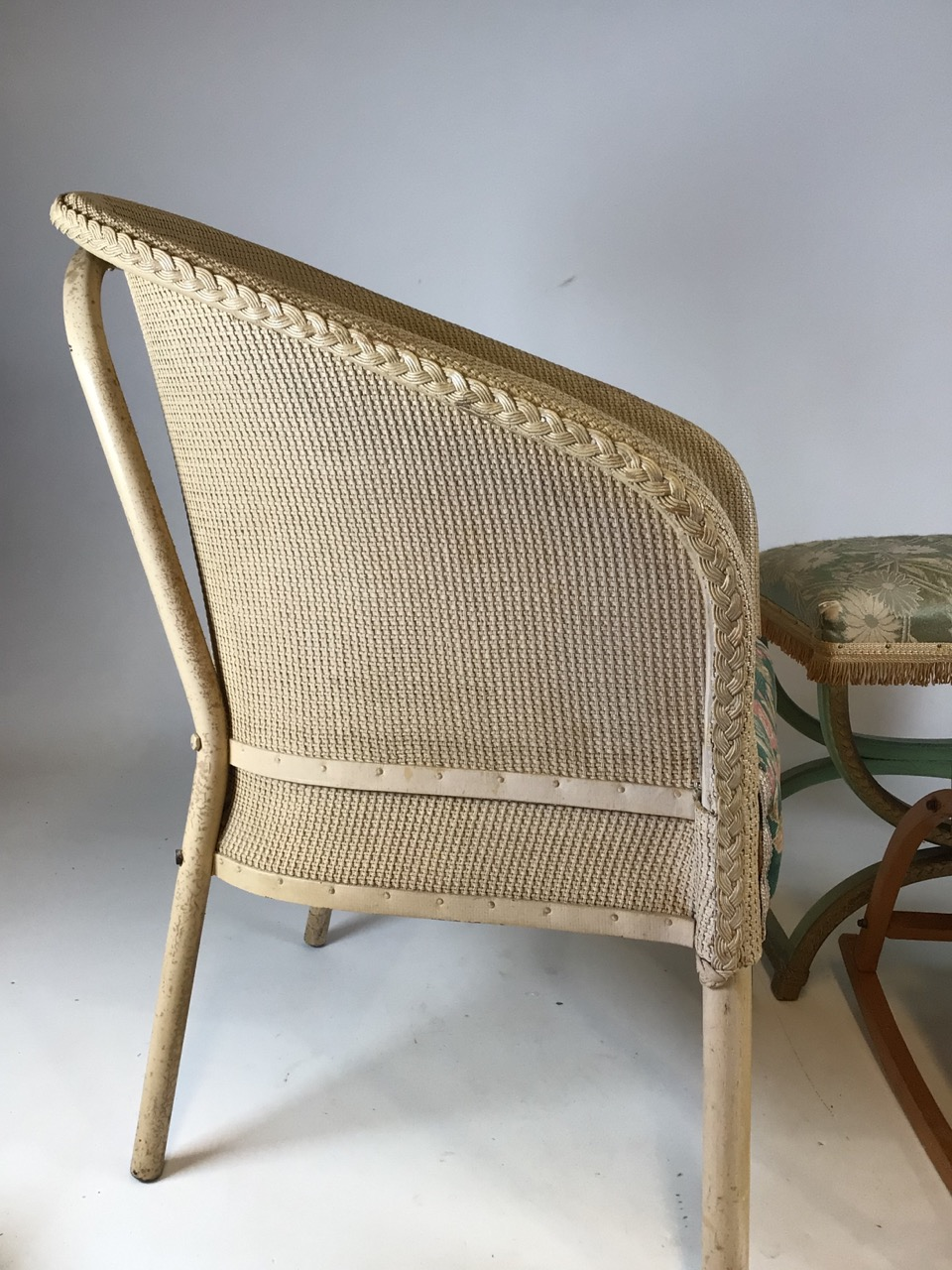 A Lloyd loom Lusty laundry basket also with a metal framed Lloyd loom style chair a bent wood childs - Image 5 of 6