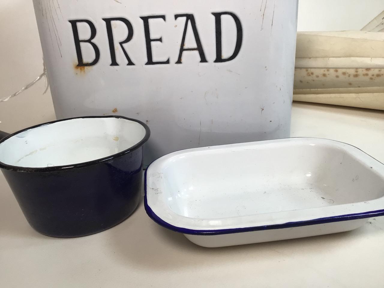 An enamel bread bin, a pan and dish. W:35cm x D:23cm x H:34cm - Image 3 of 4