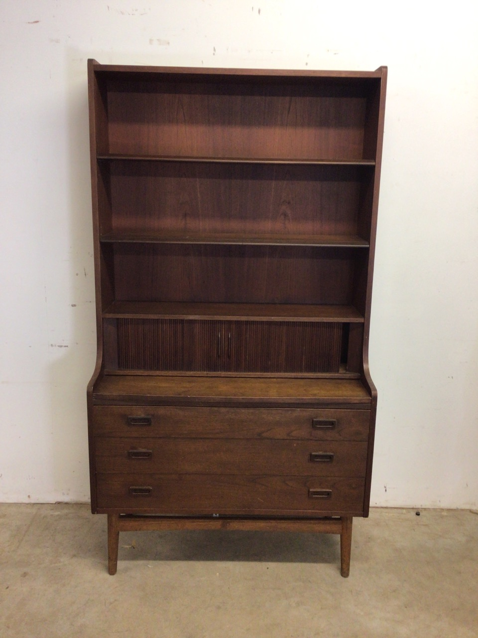 A mid century Danish sideboard with tambour front and three large drawers to base fitted interior. - Image 2 of 10