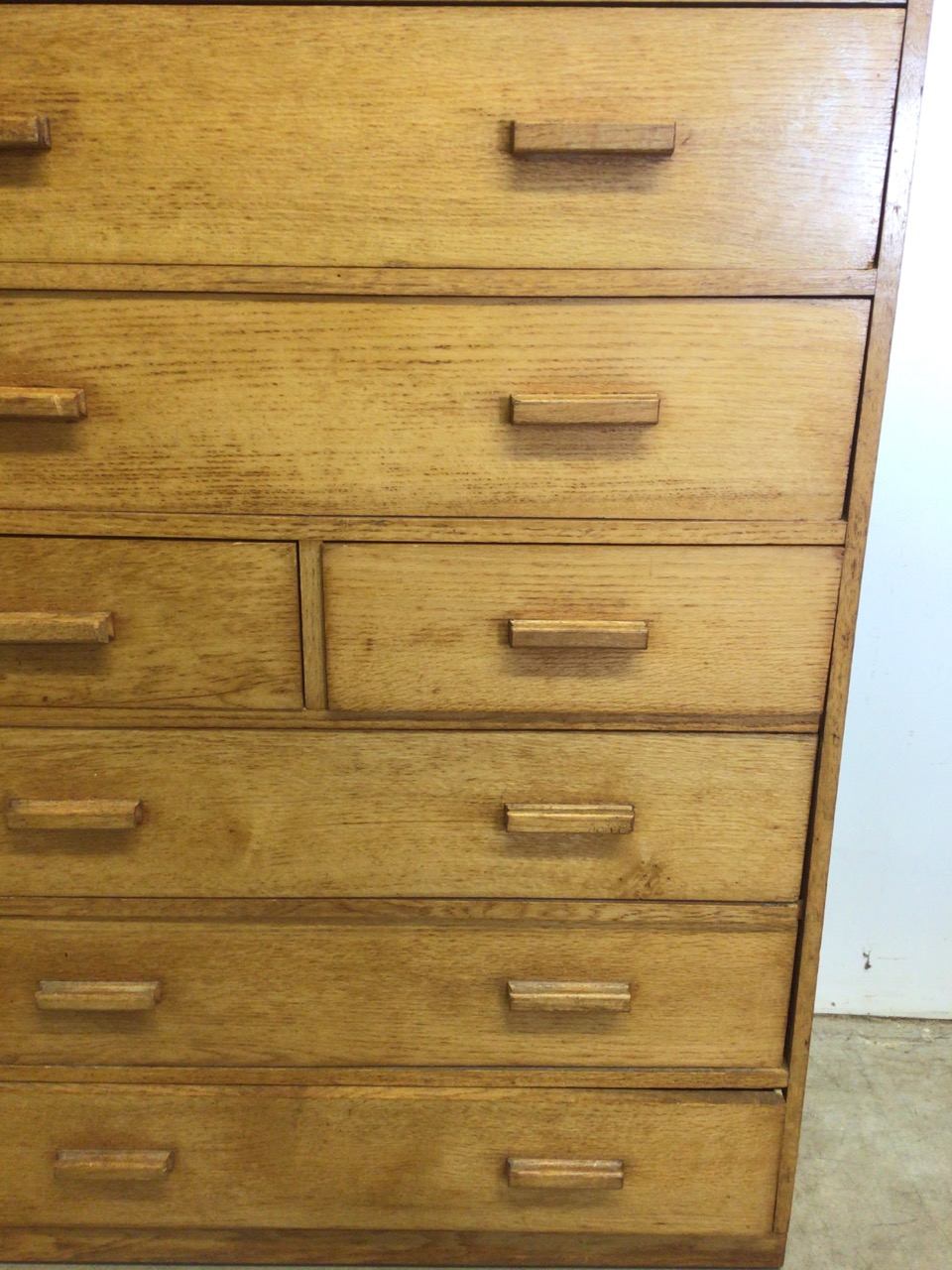 A mid century oak fronted ten drawer tall boy with original handles. W:91cm x D:41cm x H:158cm - Image 4 of 4