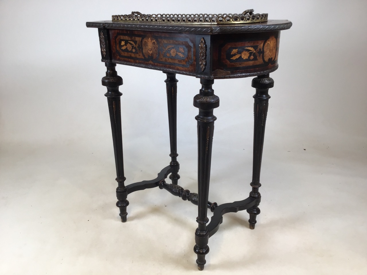 A 19th Century Dutch marquetry inlaid mahogany side table with tin lined lidded top possibly - Image 6 of 8