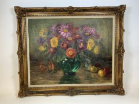 A very large early 20th century oil on canvas in original ornate gilt frame.