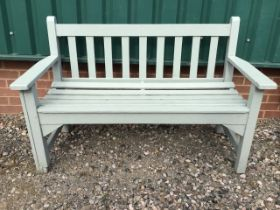 A painted garden bench. W:129cm