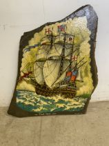 The Great Harry 1536 painted picture on slate. By Andrew Adam 86. Painted in oils. W:63cm x H:68cm