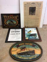 Titanic memorabilia, wooden signs,reproduction newspaper etc. Square sign W:50cm x H:40cm