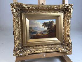 A Victorian oil on board in gilt frame. W:14.5cm x H:10cm