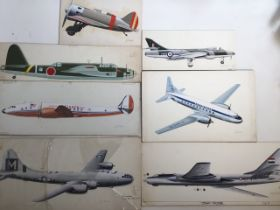 Seven original aeroplane illustrations for books by John Batchelor on watercolour board. Approx W: