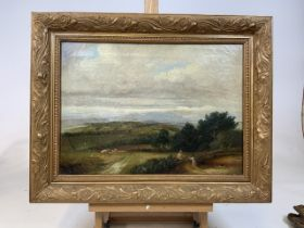 Victorian oil on canvas landscape, distant hills with figures and cattle in foreground. In good gilt