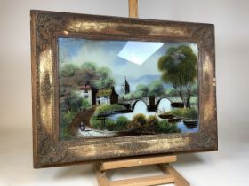 A Victorian painting on glass in antique frame. W:79cm x H:59cm