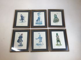 A set of six golfing prints mounted and framed W:26cm x H:34cm