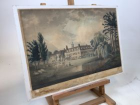 An early cricket coloured etching, the game taking place outside Hall Place school, Kent.
