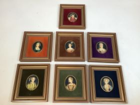 A collection of miniature portraits of Henry VIII and his six wives after Holbein W:18cm x H:19cm