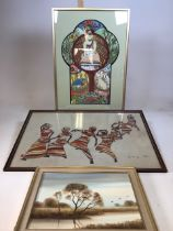 A decorative watercolour and pen painting of the tree of life with Buddha together with a batik