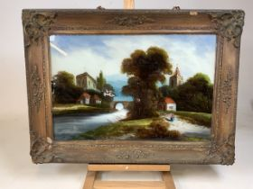A Victorian painting on glass in decorative period frame. W:75cm x H:56cm