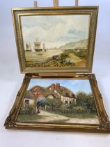 Oil on board of the Mumbles signed lower left also with an oil on canvas of a country cottage signed