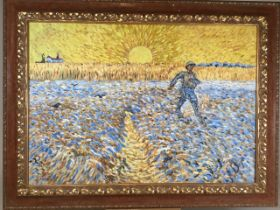 Oil on canvas in the style of Vincent van Gogh. The sower at sunset 1888. Signed Vincent lower