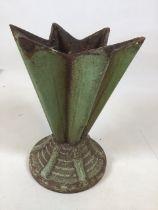 A cast iron Art Deco garden vase W:16cm x H:22cm