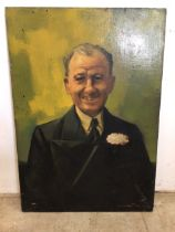 Leonard May oil on canvas portrait of Terry Thomas.