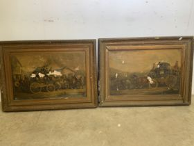 Two antique picture frames for restoration with coaching prints (a.f) W:83cm x H:62cm