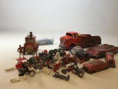 Vintage tin plates toys together with marbles and toy soldiers and figures