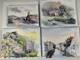 Four artists watercolour sketch books with 30+ watercolour paintings.