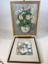 Botanical paintings, oil on canvas signed K.Richards daisies in a blue and white vase also with a