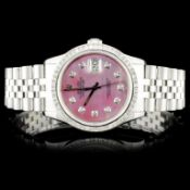 Rolex SS DateJust 3.00ct Diamond 36MM Wristwatch