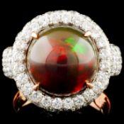 14K Gold 3.79ct Opal & 2.57ctw Diamond Ring