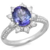 14K Gold 2.50ct Tanzanite & 0.75ct Diamond Ring
