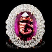 18K Gold 9.55ct Sapphire & 1.43ctw Diamond Ring