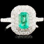 18K Gold 0.79ct Emerald & 0.91ctw Diamond Ring