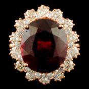 14K Gold 8.86ct Ruby & 1.50ctw Diamond Ring