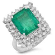 14K Gold 6.50ct Emerald & 1.50ct Diamond Ring