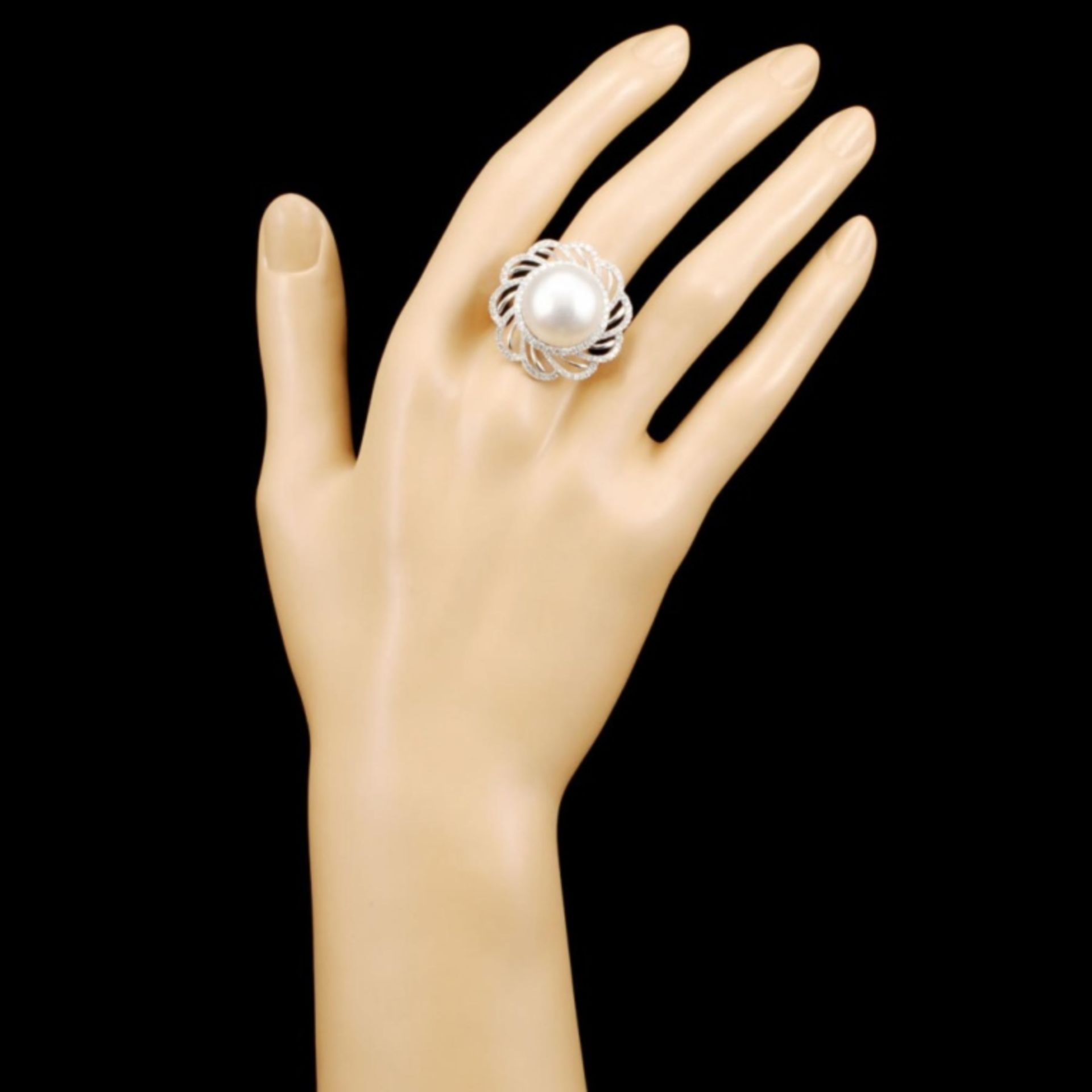 18K Gold 15.00MM Pearl & 1.02ctw Diamond Ring - Image 4 of 5