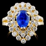 18K Y Gold 2.18ct Sapphire & 1.91ct Diamond Ring