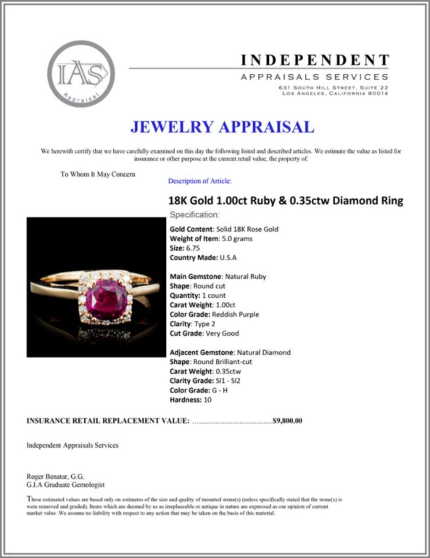 18K Gold 1.00ct Ruby & 0.35ctw Diamond Ring - Image 3 of 3