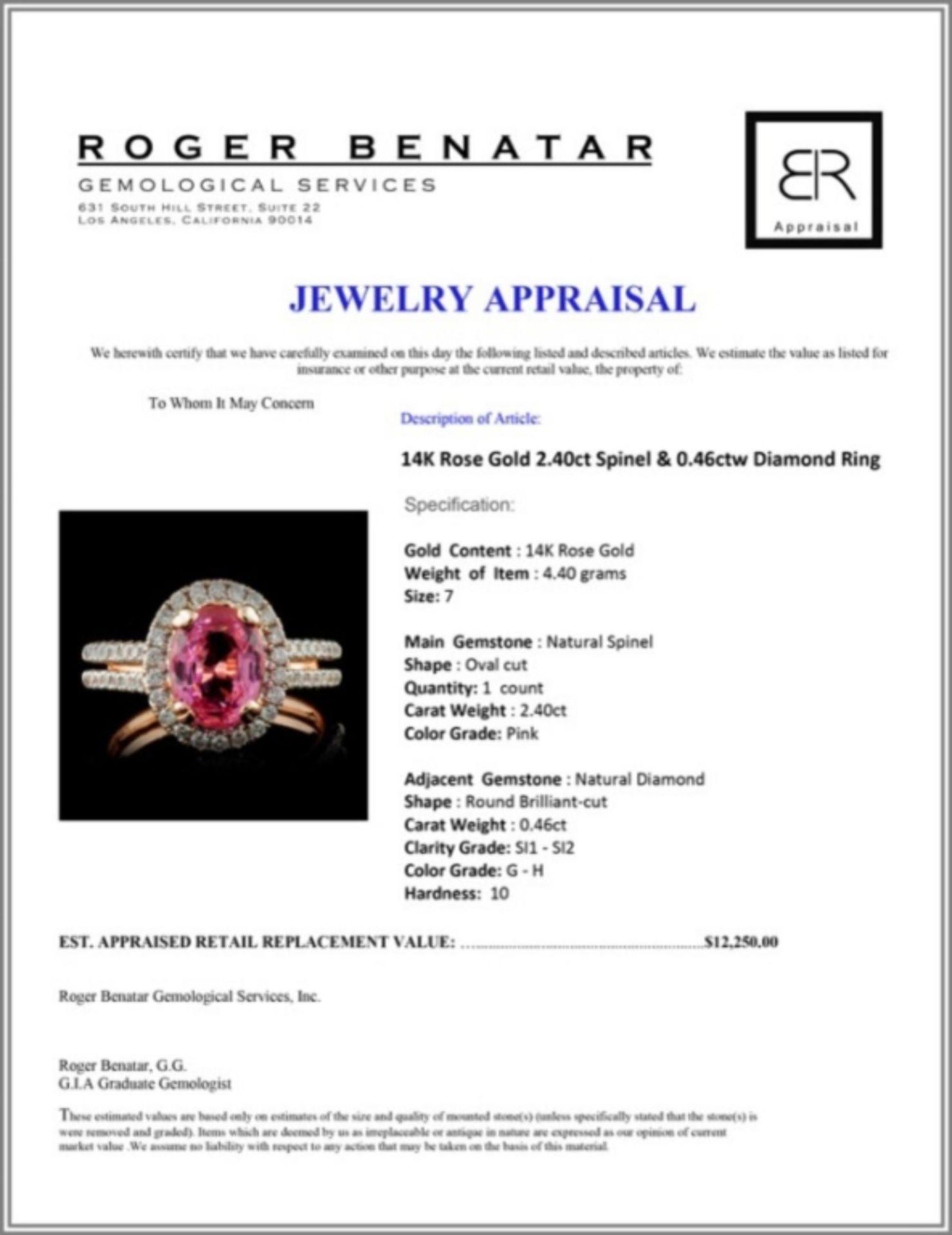 14K Rose Gold 2.40ct Spinel & 0.46ctw Diamond Ring - Image 4 of 4