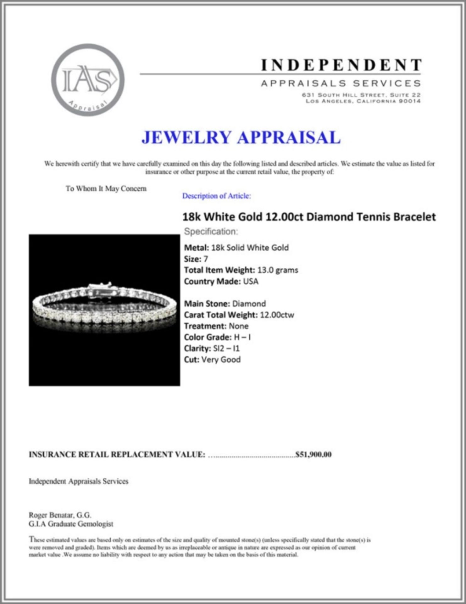 ^18k White Gold 12.00ct Diamond Tennis Bracelet - Image 4 of 4