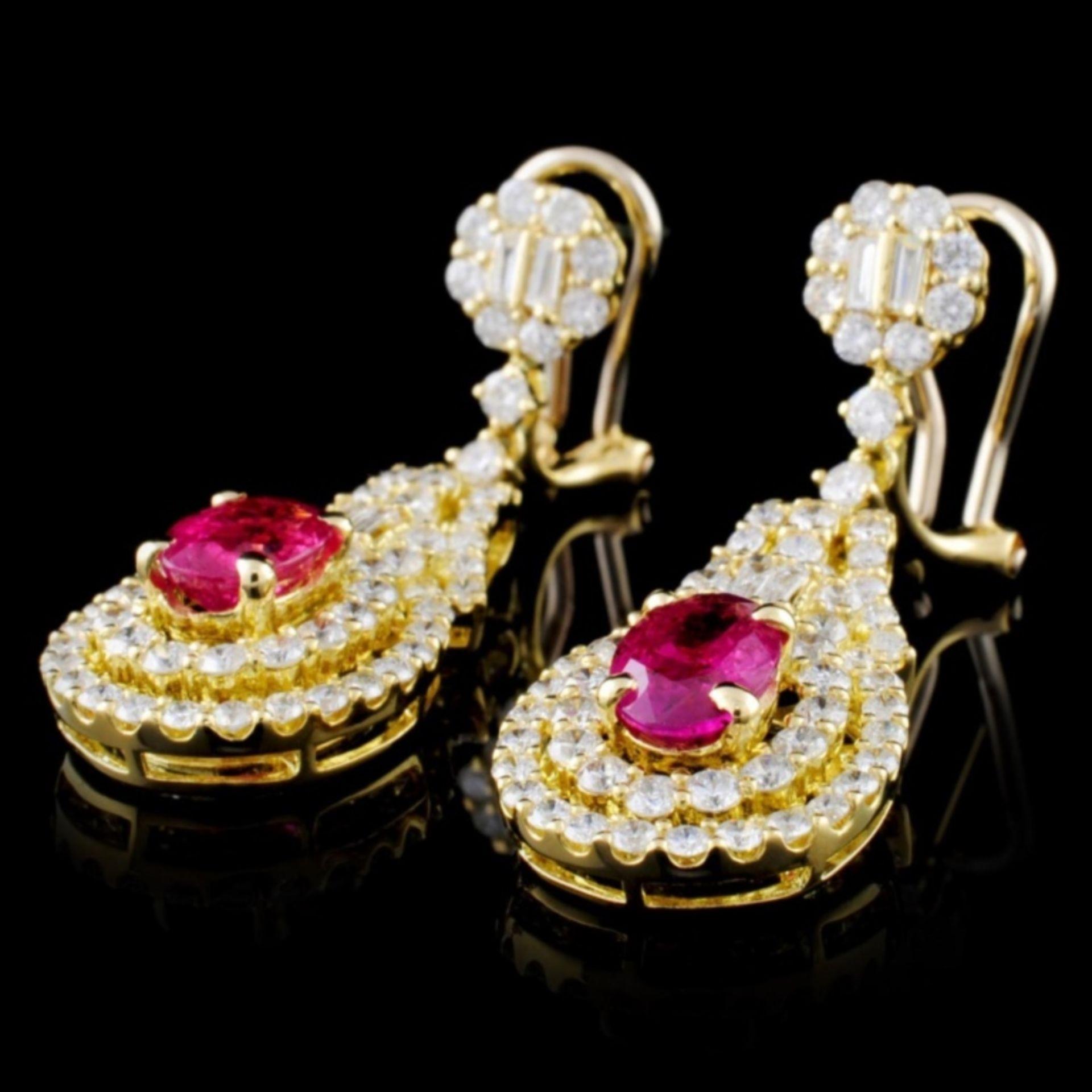 18K Gold 1.91ctw Ruby & 2.52ctw Diamond Earrings - Image 2 of 3