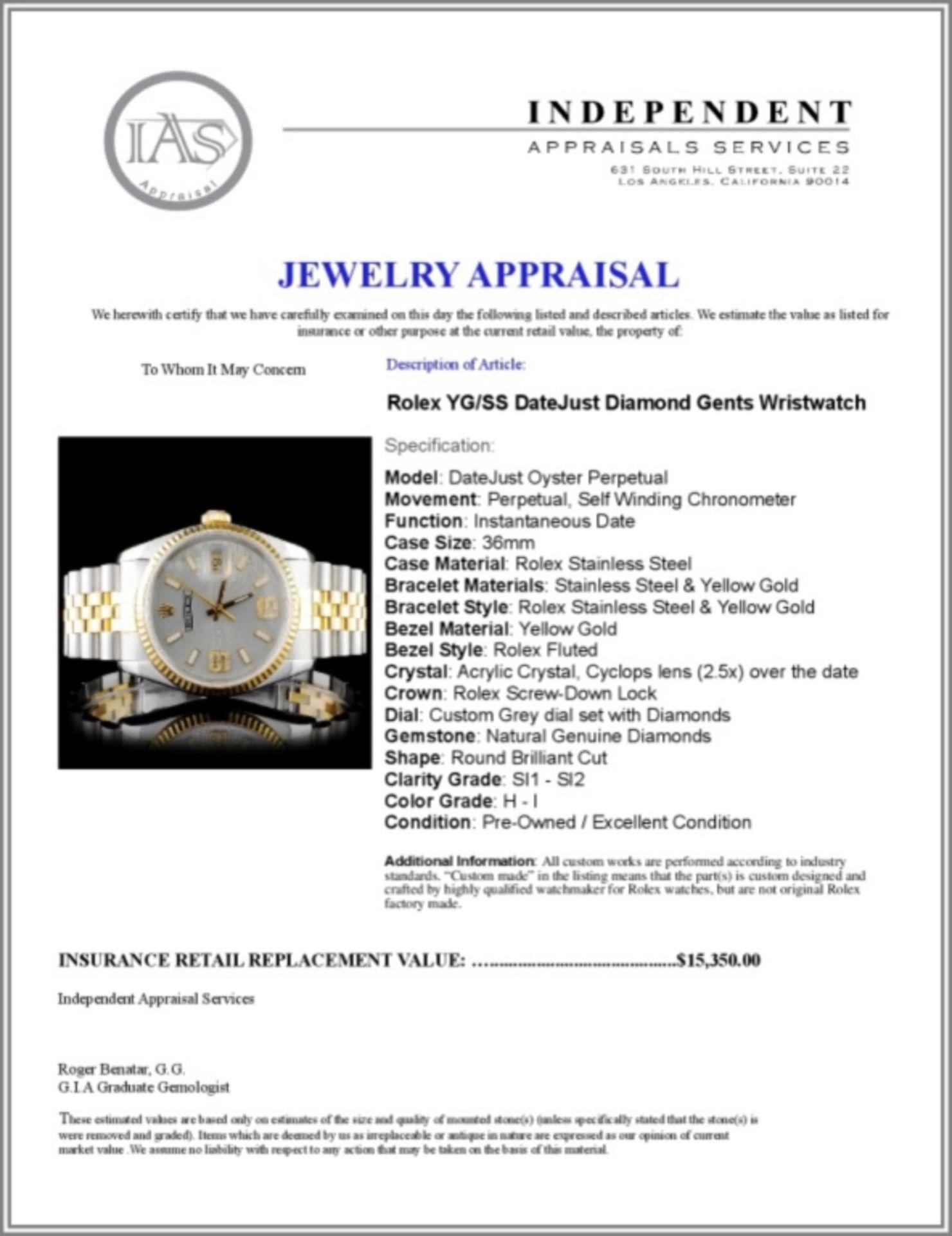 Rolex YG/SS 36MM DateJust Diamond Wristwatch - Image 5 of 5