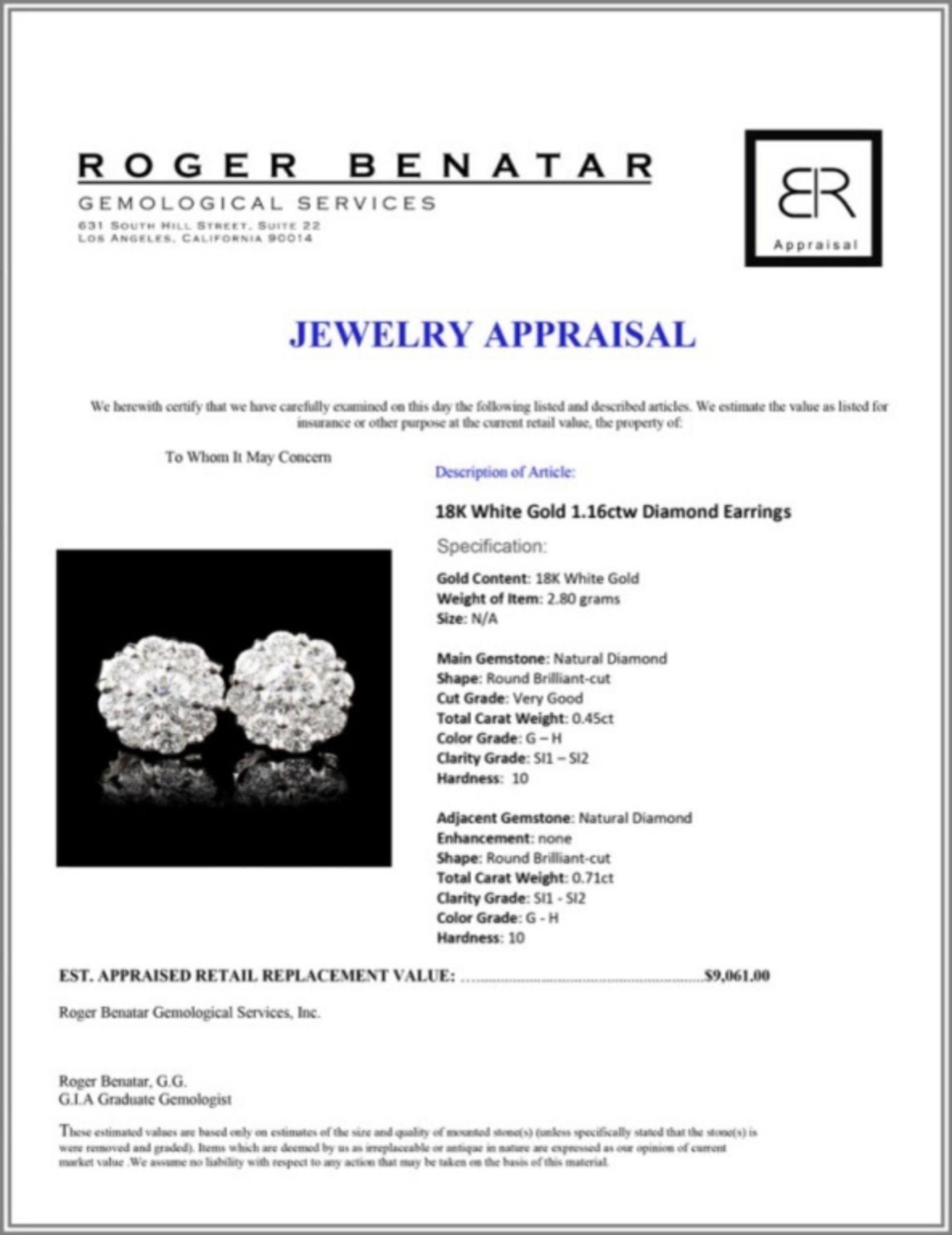 18K White Gold 1.16ctw Diamond Earrings - Image 3 of 3