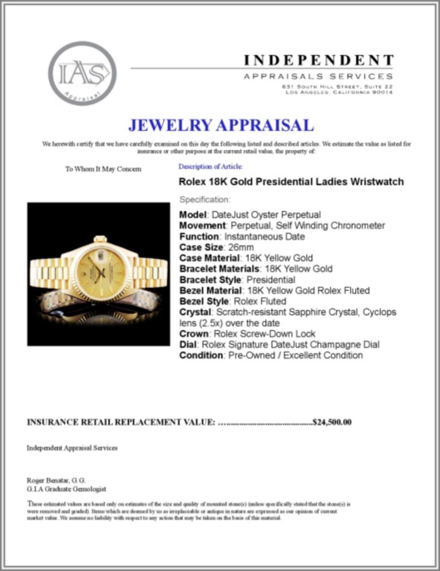 Rolex 18K Gold Presidential Ladies Wristwatch - Image 5 of 5