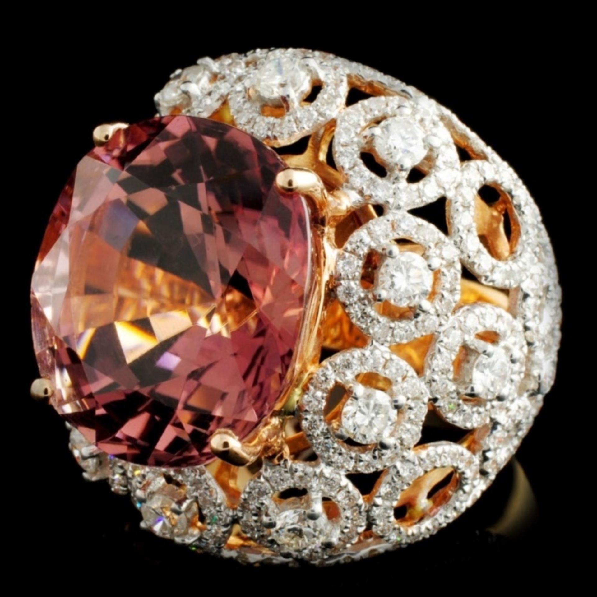 18K Gold 17.17ct Tourmaline & 2.55ctw Diamond Ring - Image 2 of 4