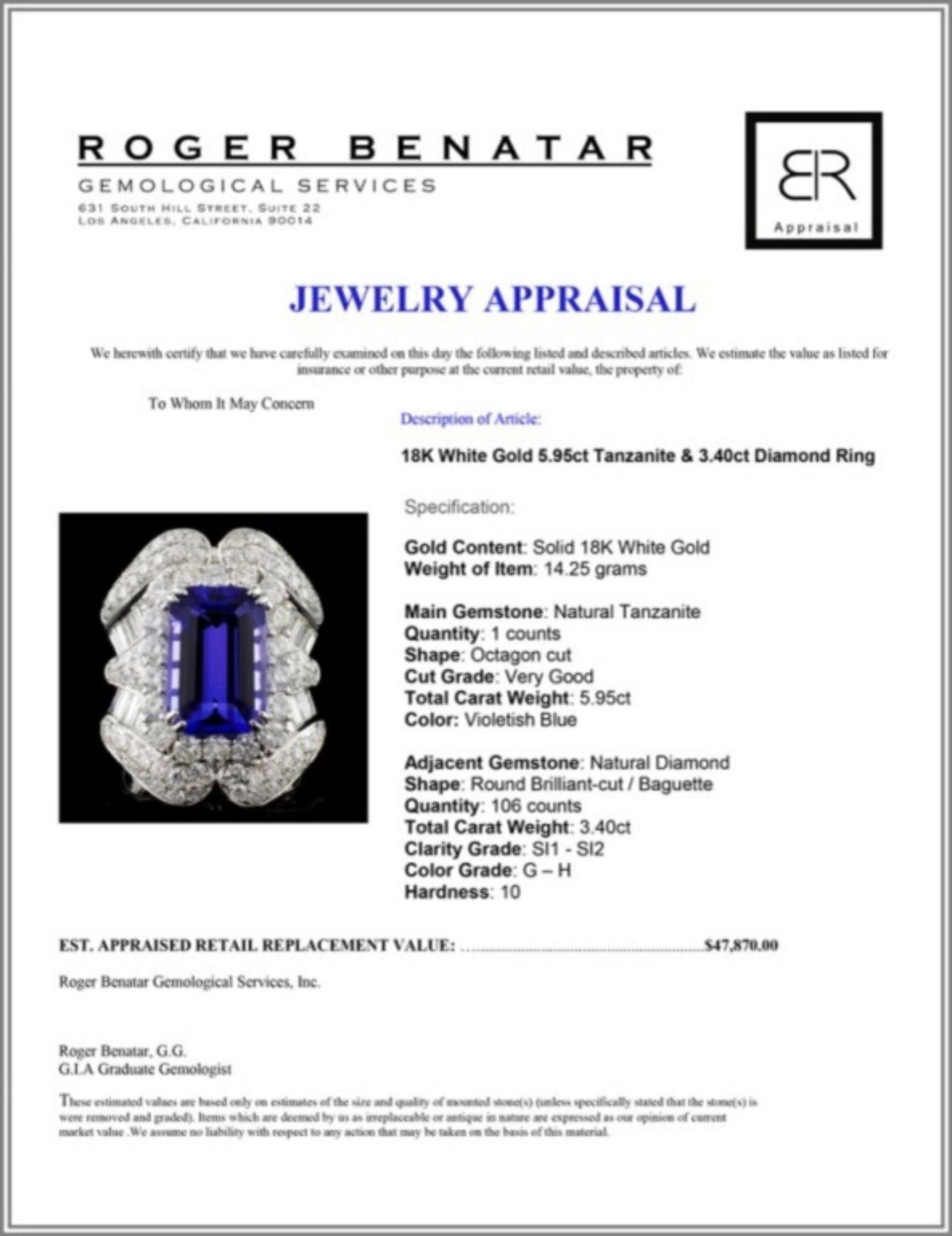 18K White Gold 5.95ct Tanzanite & 3.40ct Diamond R - Image 4 of 4