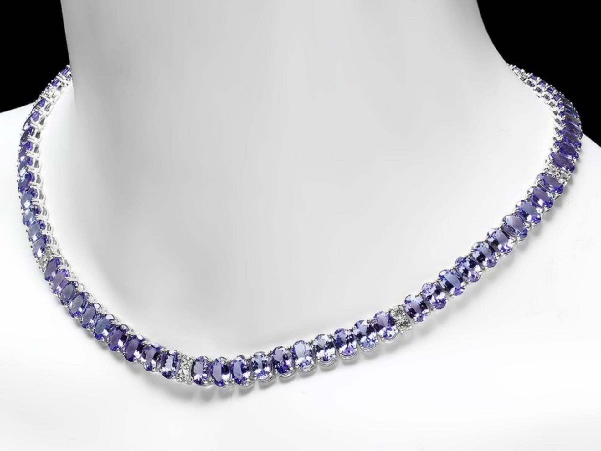 `14k Gold 55.00ct Tanzanite & 1.35ct Diamond Neckl - Image 3 of 5
