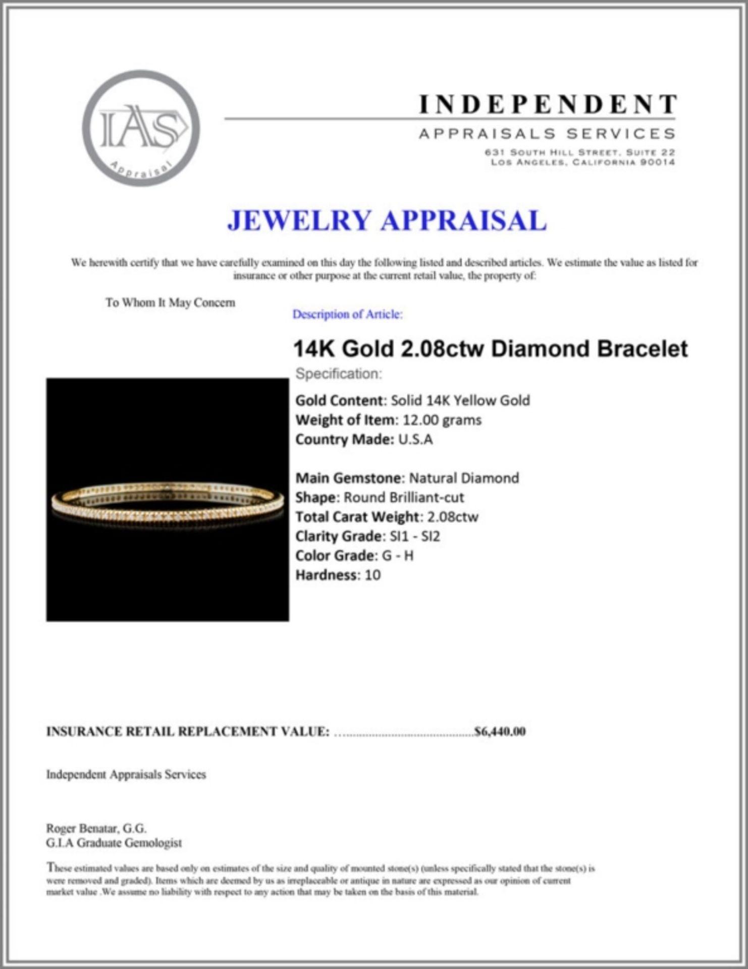 14K Gold 2.08ctw Diamond Bracelet - Image 3 of 3