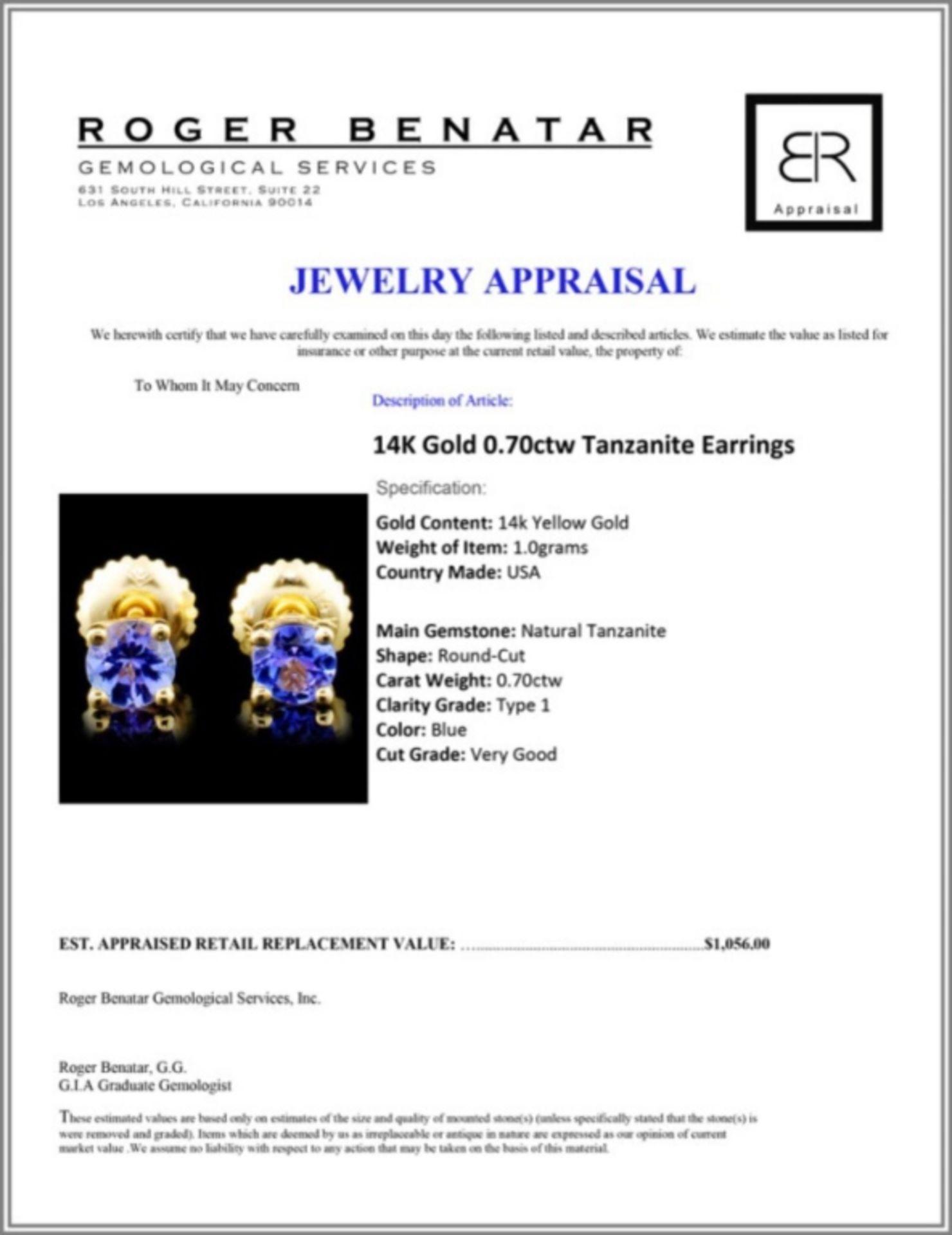 14K Gold 0.70ctw Tanzanite Earrings - Image 3 of 3