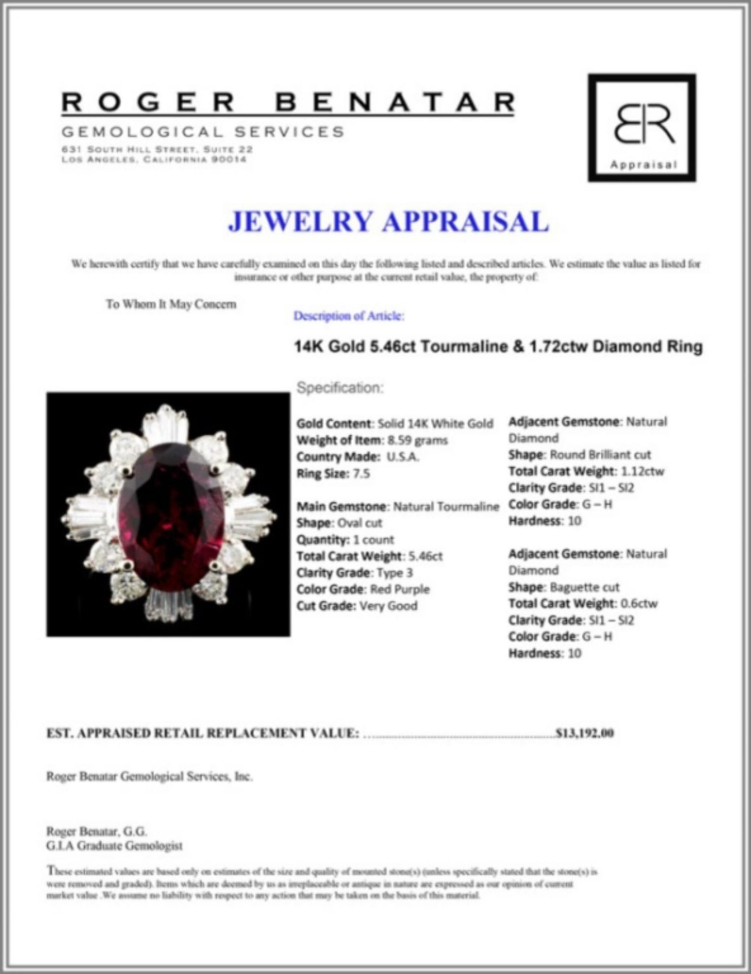 14K Gold 5.46ct Tourmaline & 1.72ctw Diamond Ring - Image 4 of 4