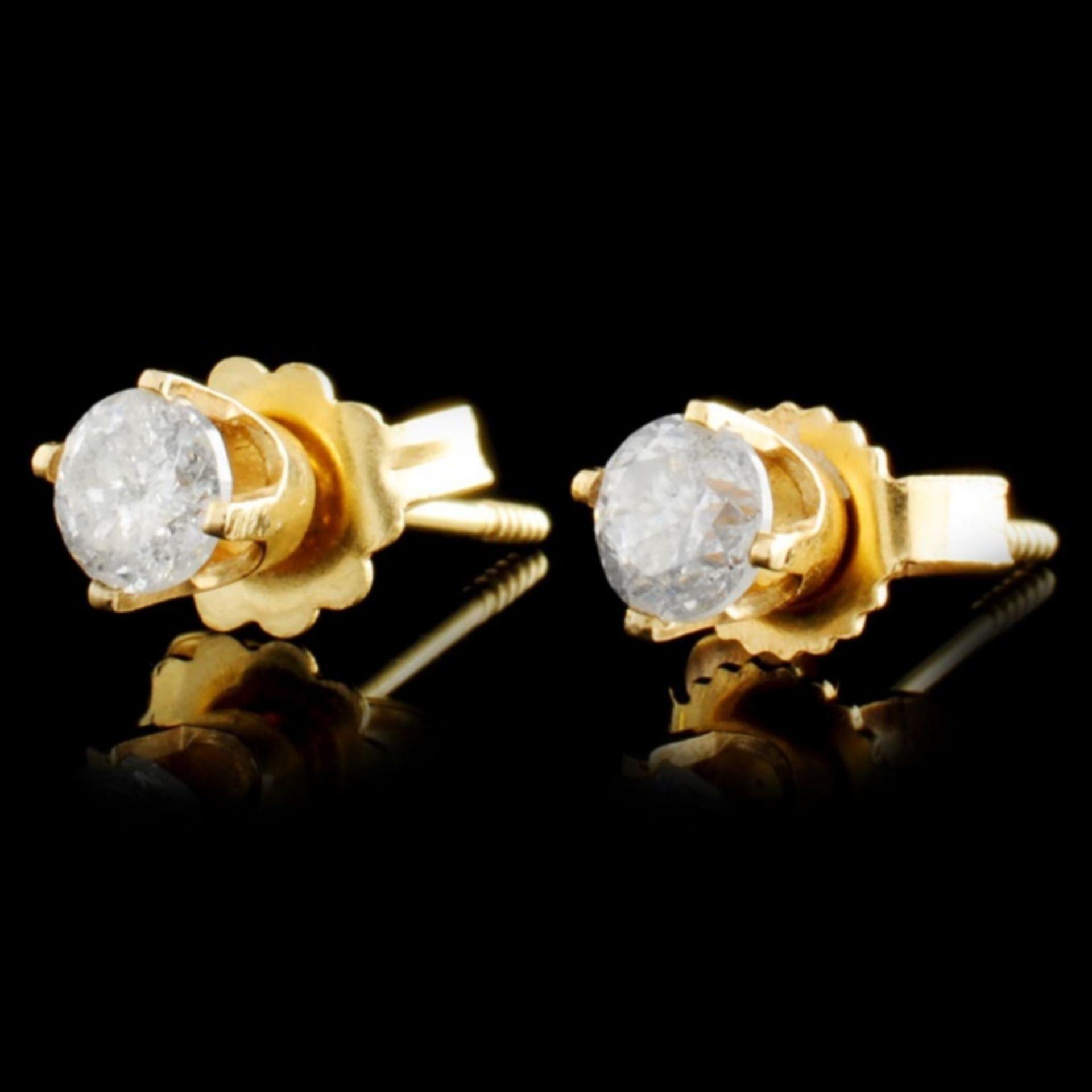 14K Gold 0.36ctw Diamond Earrings - Image 2 of 2